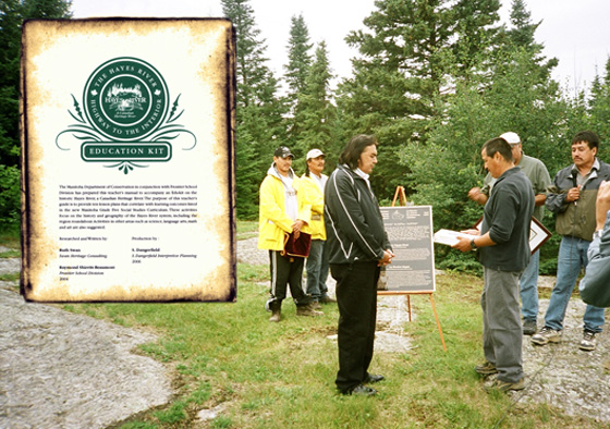 The Minister of Culture and Heritage presents the community with the curriculum guide at the ceremony commemorating the Hayes River as a Canadian Heritage River, photo: K. Schykulski