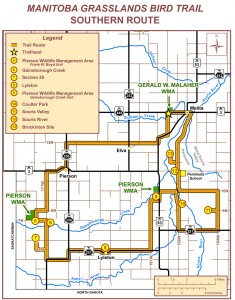 Map for the southern route of the grasslands birding trail.