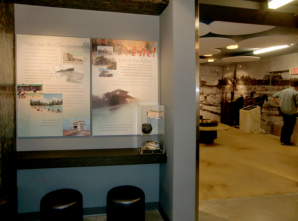 In the conclusion area is a panel about the fire that destroyed the original interpretive centre, along with the artifacts recovered. Photo: wickettdesign