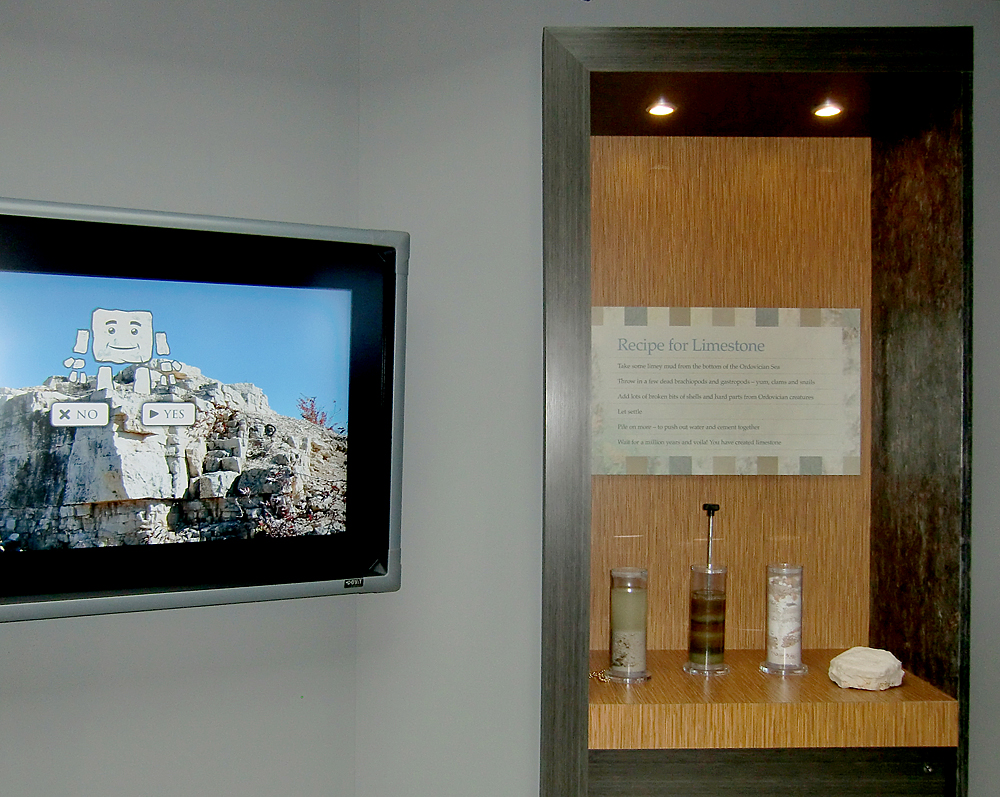 A couple of interactives - touch screen and recipe for limestone, help school groups learn. Photo: wickettdesign