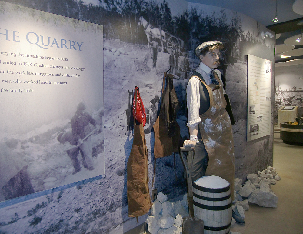 The Quarry Gallery includes a variety of characters telling you what it is like to work in a limestone quarry. Photo: wickettdesign