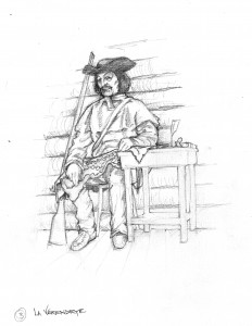 La Verendrye sits at Fort Mauripas with the map Auchagah made him