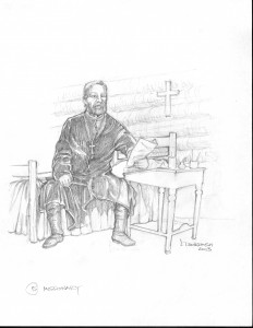 "Father Allard at Fort Alexander Mission, c 1876, writes to his nephew in Quebec to come to ""the most picturesque spot on the Winnipeg River"" that would become St. Georges"