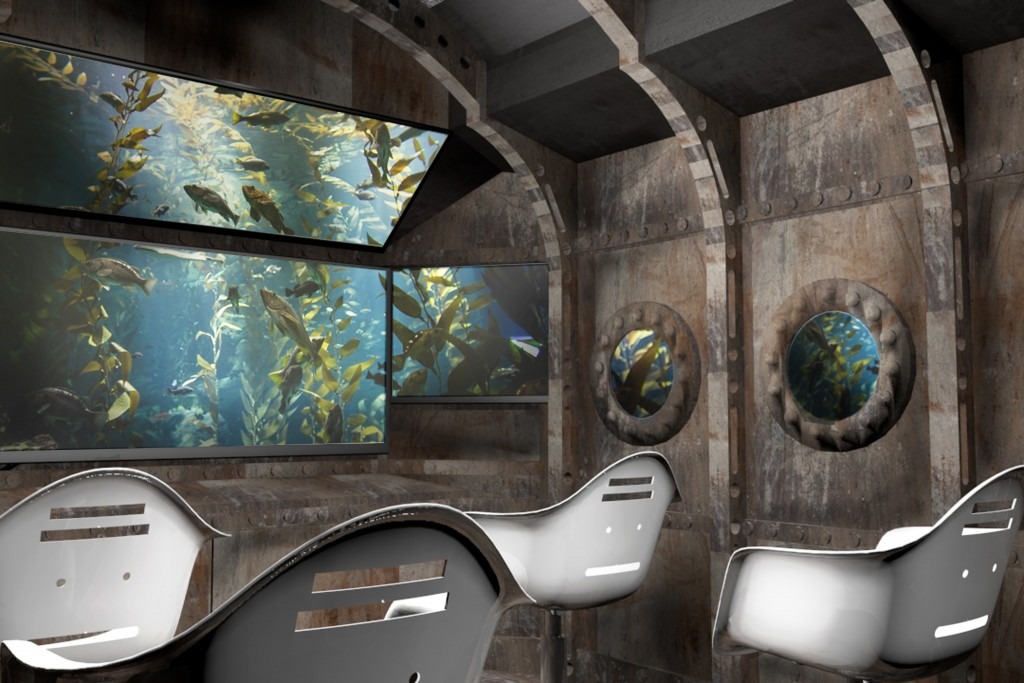 This is a mock up of the interior of the submarine used for the tour animation.