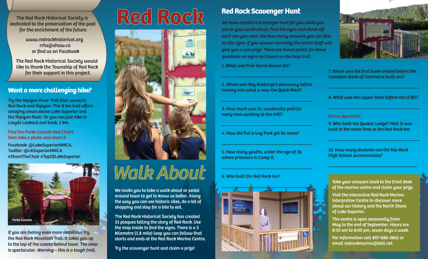 Red Rock Walk About brochure invites visitors to explore the town of Red Rock.