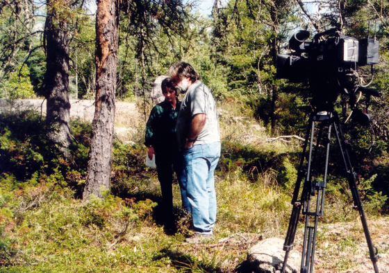 Preparing to film a segment for the caribou management video which took us to a variety of locations in the boreal forest